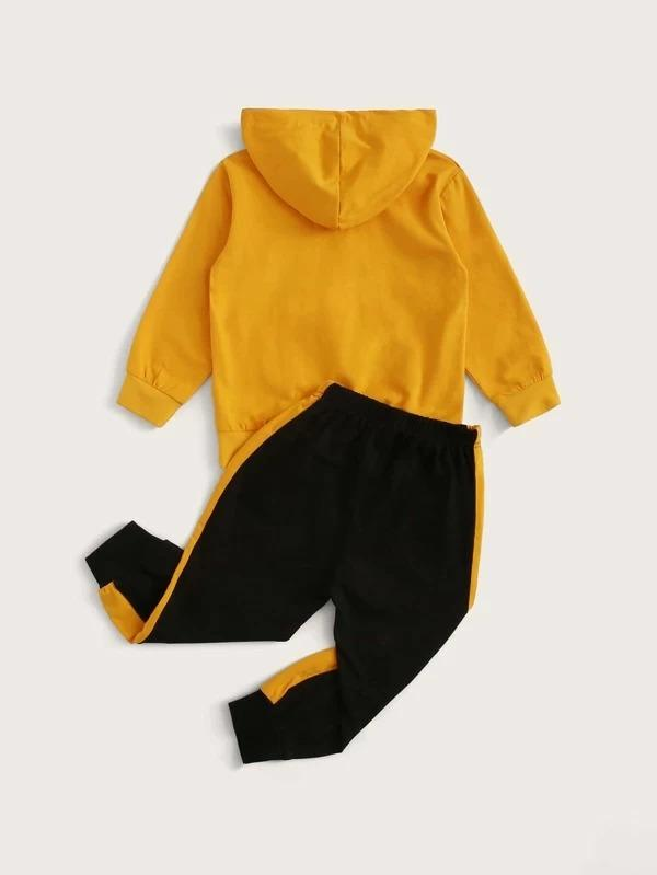 Toddler Boys Slogan Graphic Hoodie With Color-Block Sweatpants
