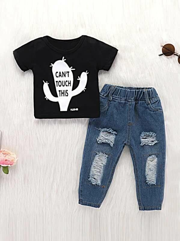 Toddler Boys Slogan Graphic Tee With Ripped Jeans