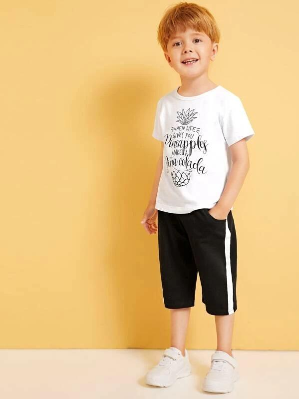 Toddler Boys Slogan Print Tee With Contrast Side Pants