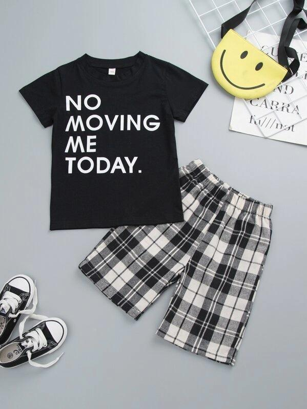 Toddler Boys Slogan Print Tee With Plaid Shorts