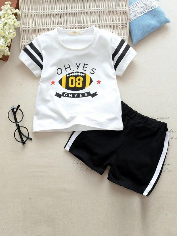 Toddler Boys Slogan Print Tee With Side Stripe Track Shorts