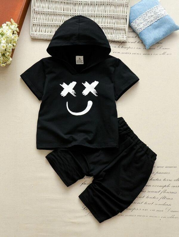 Toddler Boys Smile Graphic Hooded Tee With Pants