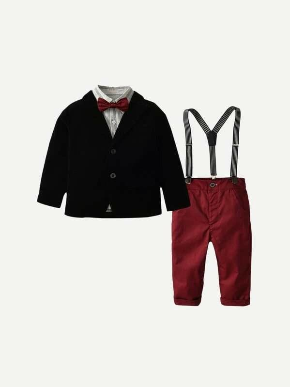 Toddler Boys Solid Outerwear & Bow Tie Striped Shirt & Overalls