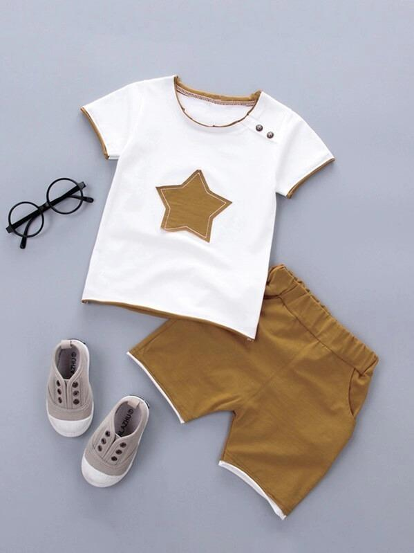 Toddler Boys Star Patched Tee With Shorts