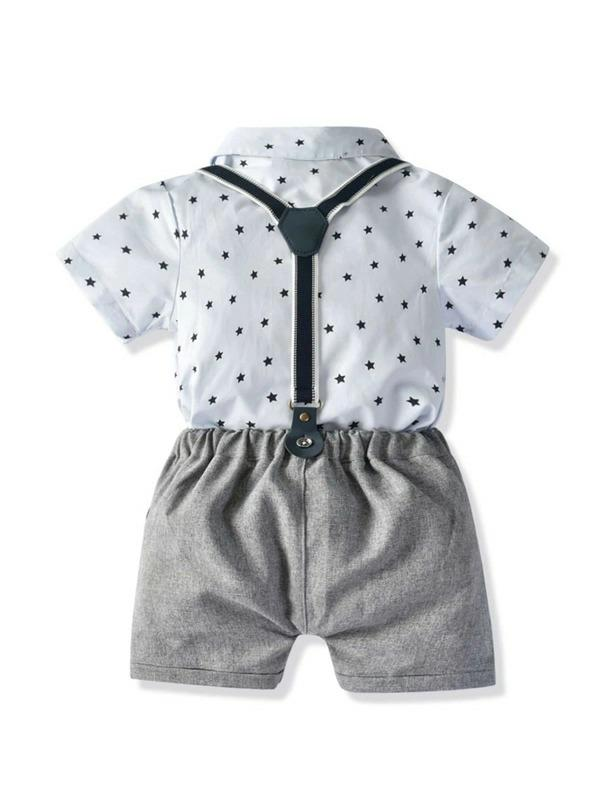 Toddler Boys Star Print Bow Romper With Straps Shorts