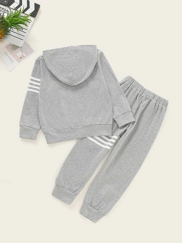 Toddler Boys Stripe Print Kangaroo Pocket Hoodie With Sweatpants