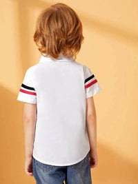 Toddler Boys Stripe Tape Panel Curved Hem Shirt