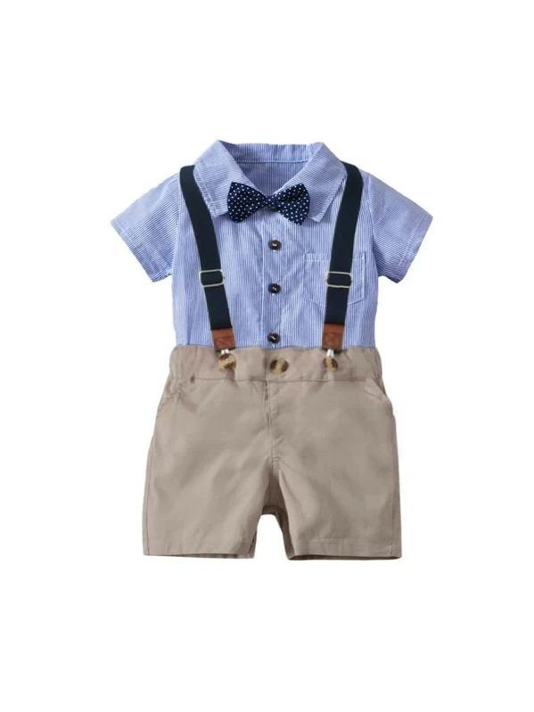 Toddler Boys Striped Bow Top With Straps Shorts