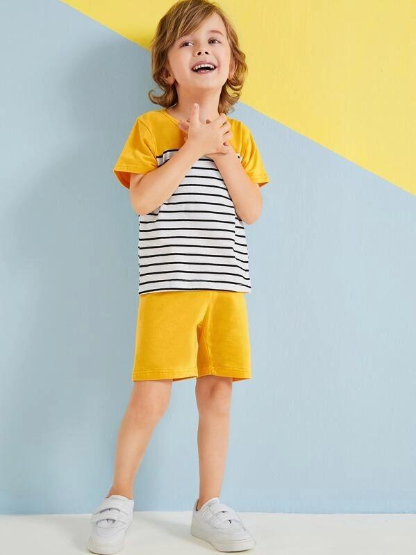 Toddler Boys Striped Panel Tee & Shorts
