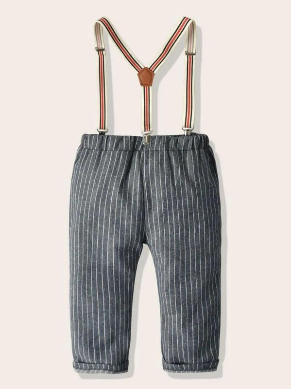 Toddler Boys Striped Straight Pants With Straps