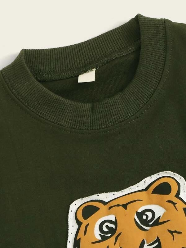 Toddler Boys Tiger Print Side Stripe Sweatshirt With Sweatpants