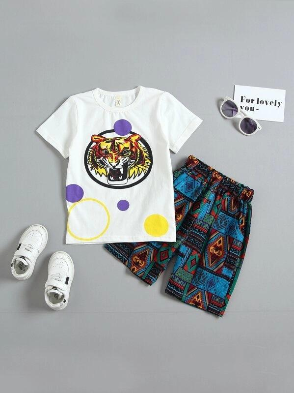Toddler Boys Tiger Print Tee With Tribal Print Shorts