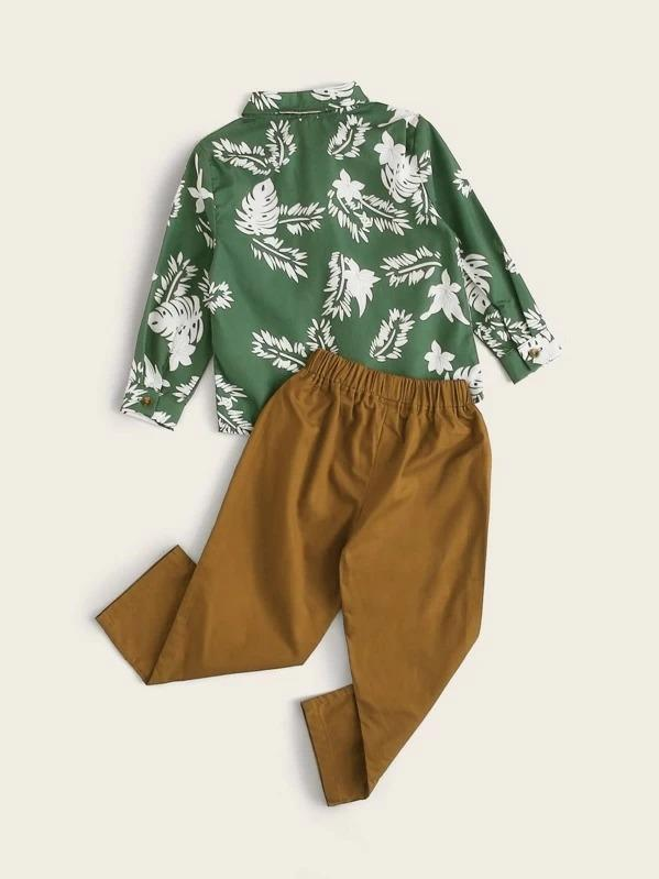 Toddler Boys Tropical Print Bow Shirt With Pants