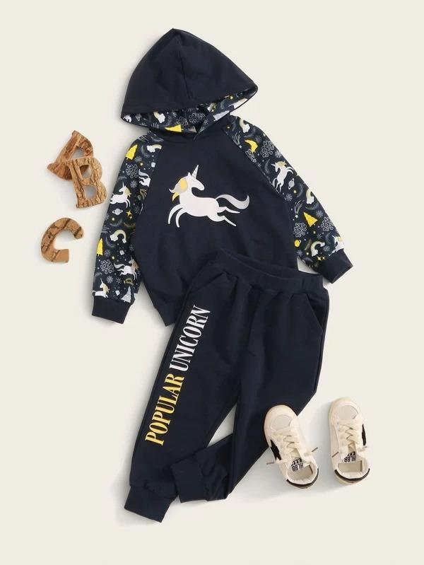 Toddler Boys Unicorn & Letter Graphic Hoodie & Sweatpants