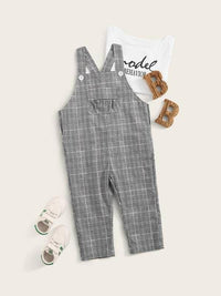 Toddler Boys Wales Check Pocket Patched Overalls