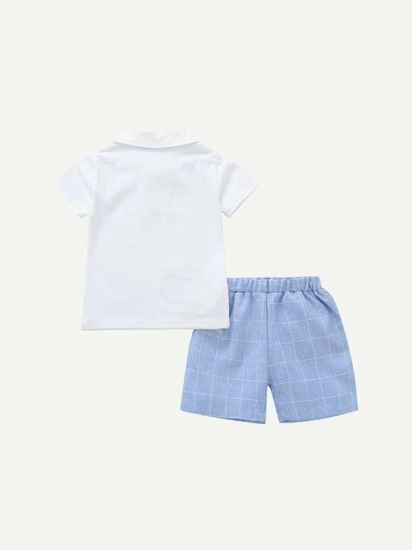 Toddler Boys Whale Embroidery Polo Shirt With Plaid Shorts