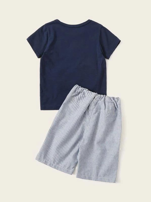 Toddler Boys Whale Patched Tee With Striped Shorts
