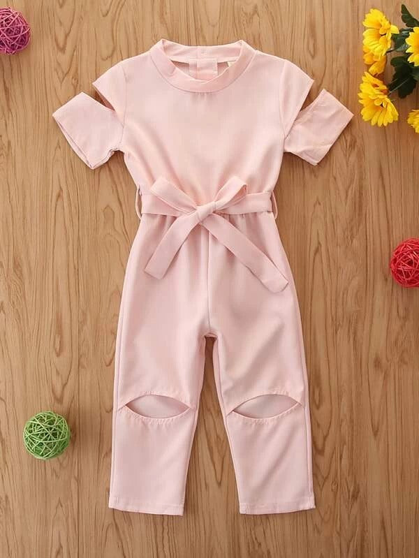 Toddler Girl Cut Out Sleeve Belted Jumpsuit