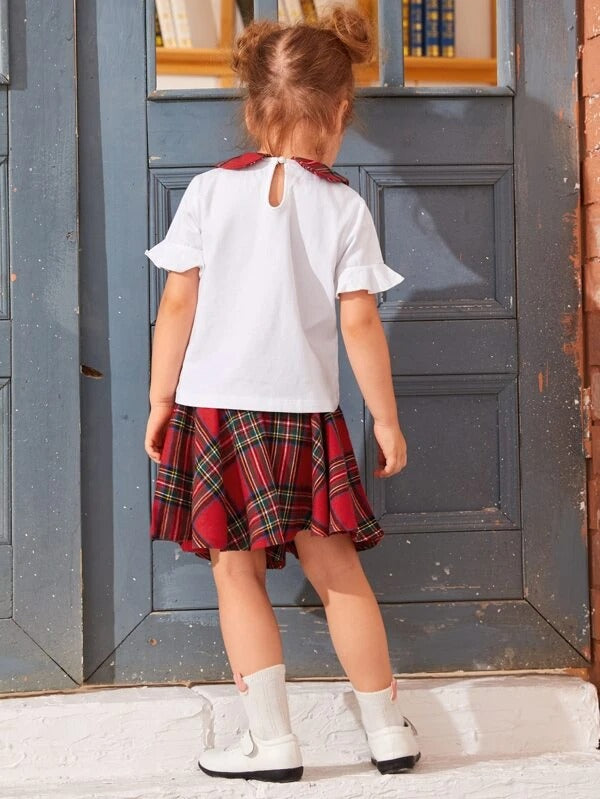 Toddler Girl Peter Pan Collar Flounce Sleeve Blouse & Tartan Skirt