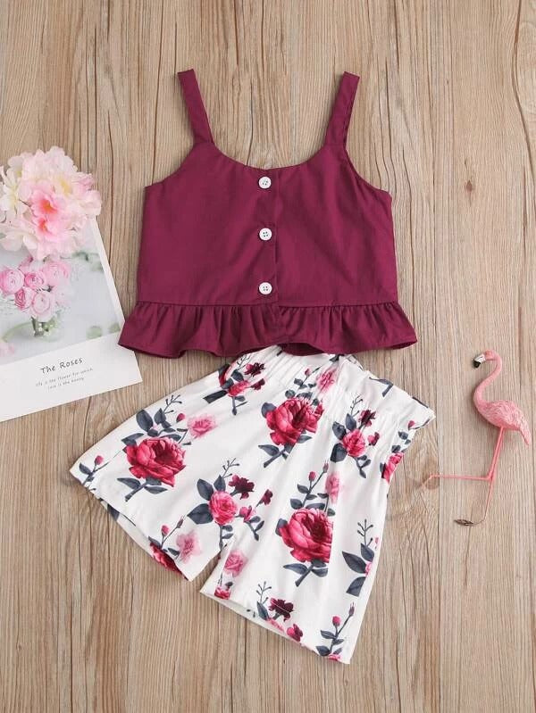 Toddler Girl Ruffle Hem Top With Floral Print Shorts