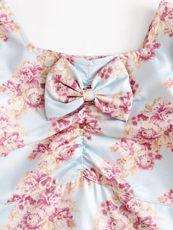 Toddler Girls Allover Floral Bow Front Blouse & Skirt