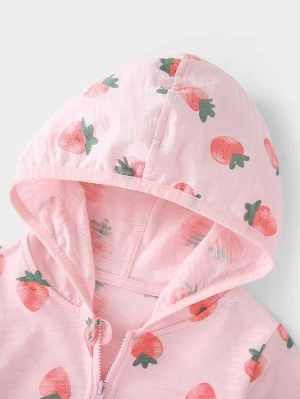 Toddler Girls Allover Strawberry Print Zip-up Hooded Jacket