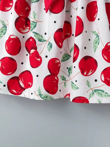 Toddler Girls Apple Print Big Bow Front A-line Dress