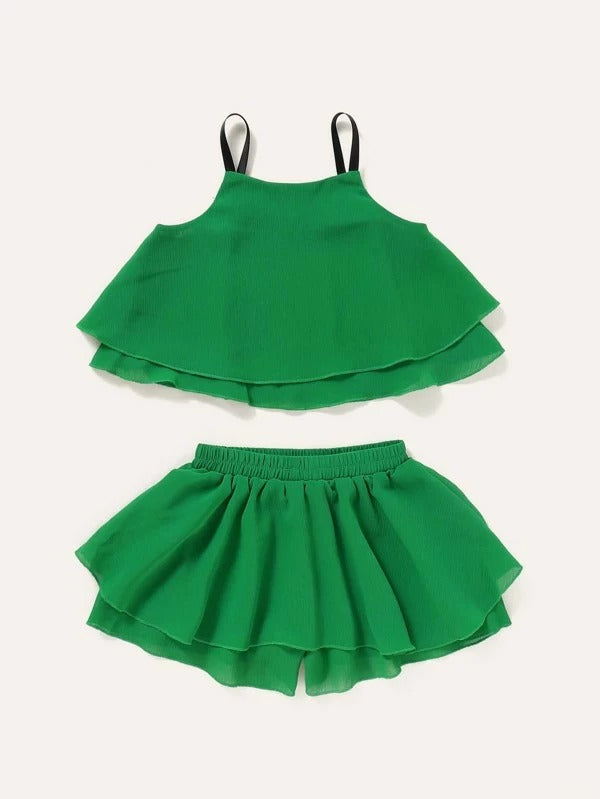 Toddler Girls Appliques Cami Top & Culotte Shorts