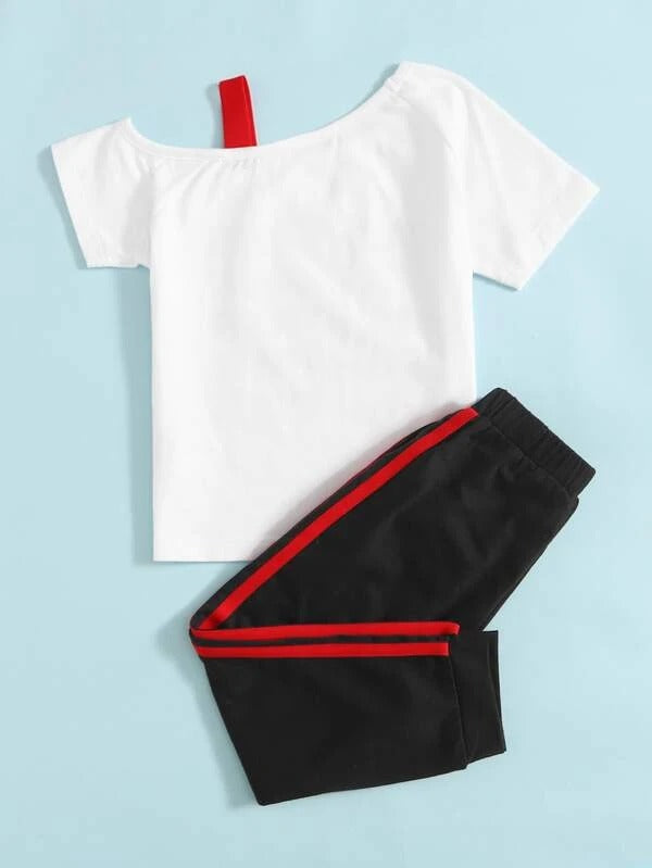 Toddler Girls Asymmetrical Neck Letter Graphic Tee & Sweatpants