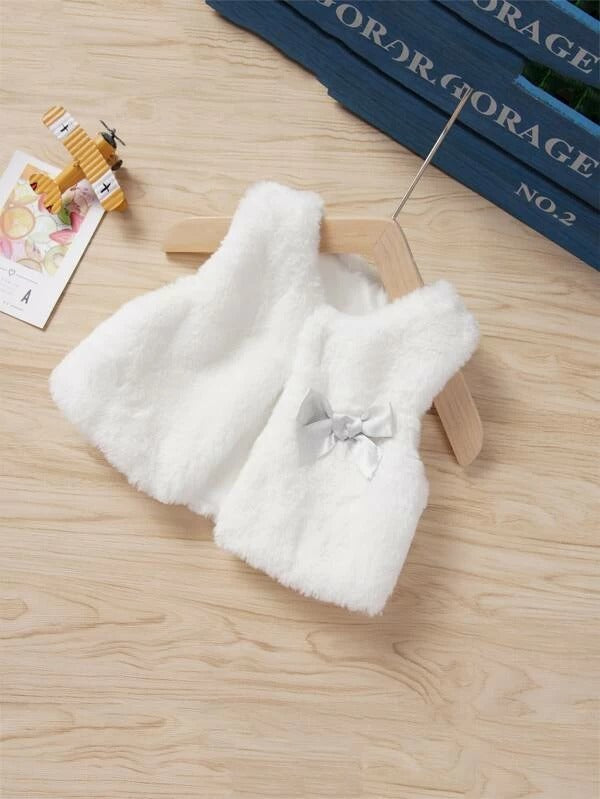 Toddler Girls Bow Front Faux Fur Vest