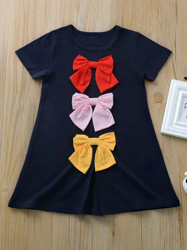 Toddler Girls Bow Front Tee Dress