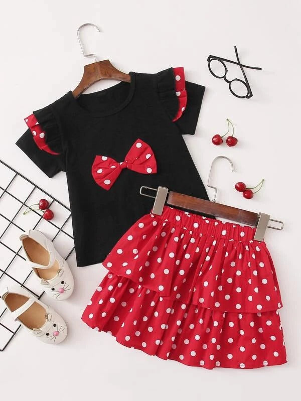 Toddler Girls Bow Front Tee With Polka Dot Skirt