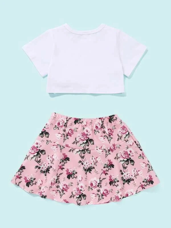 Toddler Girls Bow Front Tee & Floral Skirt