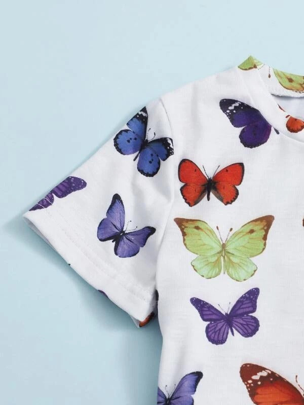 Toddler Girls Butterfly Print Tee With Skirt