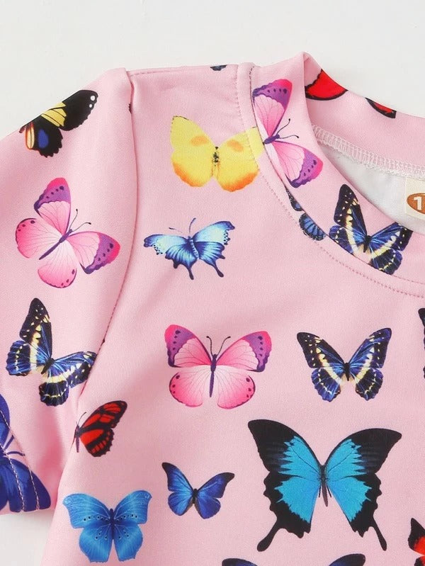 Toddler Girls Butterfly Print Tee With Track Shorts