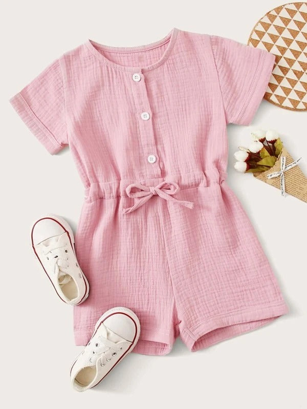 Toddler Girls Button Front Knot Romper