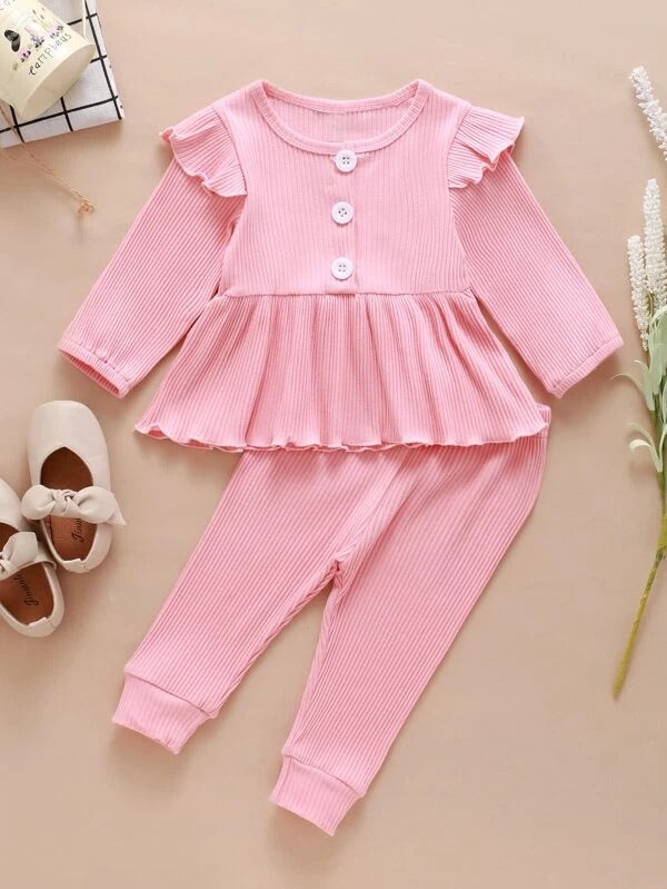 Toddler Girls Button Front Peplum Top With Joggers