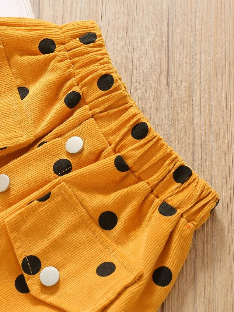 Toddler Girls Button Front Polka Dot Corduroy Skirt