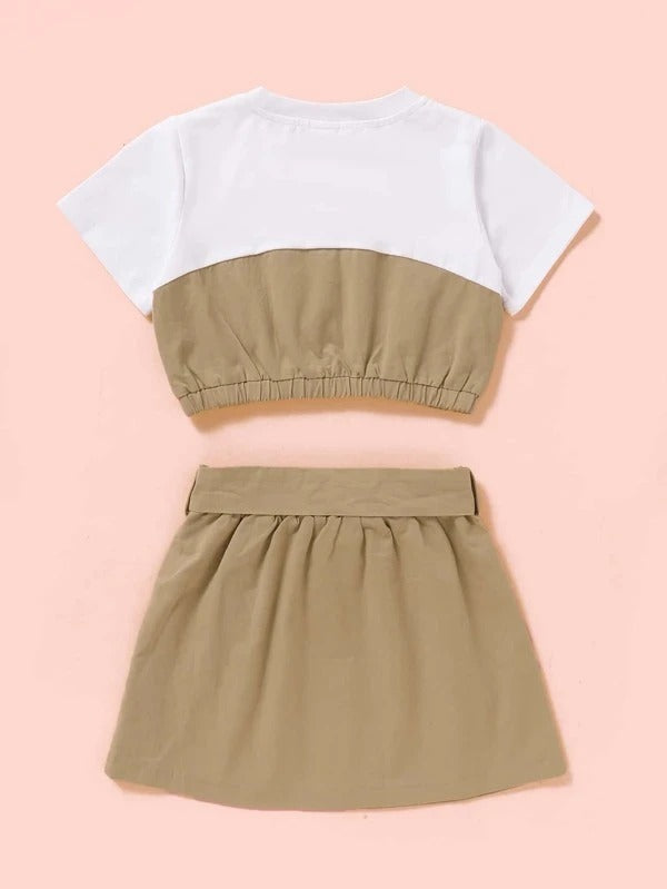 Toddler Girls Button Front Tee With Belted Skirt