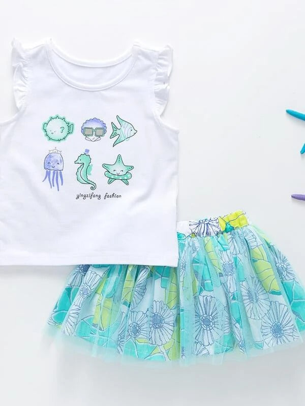Toddler Girls Cartoon And Letter Graphic Tank Top & Mesh Overlay Floral Skirt