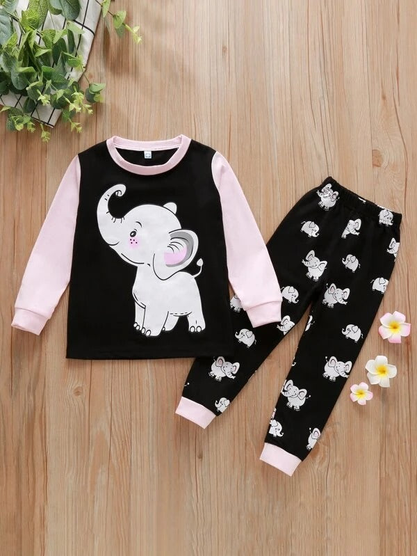 Toddler Girls Cartoon Elephant Top & Pants