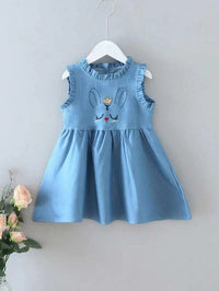 Toddler Girls Cartoon Embroidery A-line Dress