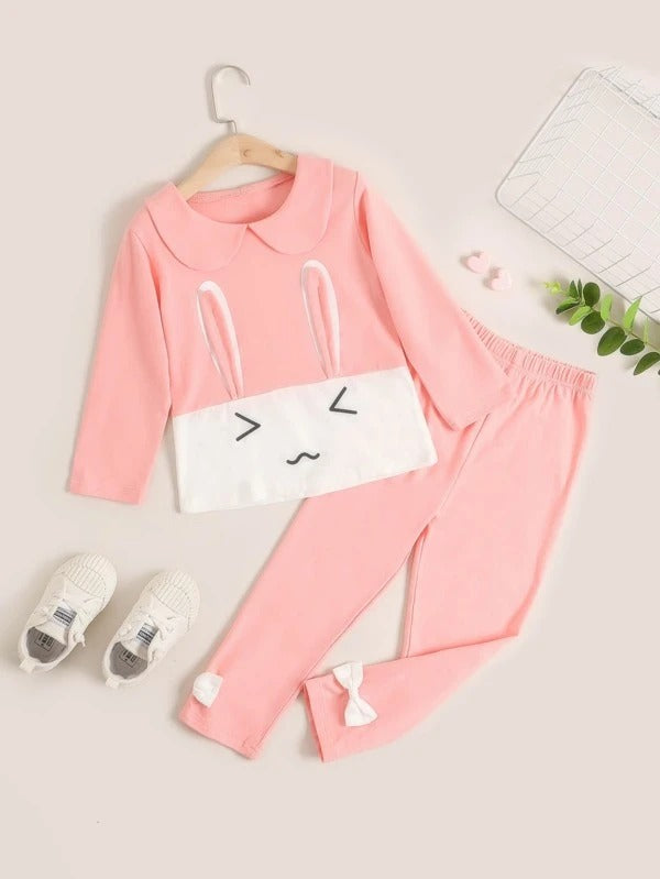 Toddler Girls Cartoon Graphic 3D Rabbit Ear Design Tee & Leggings