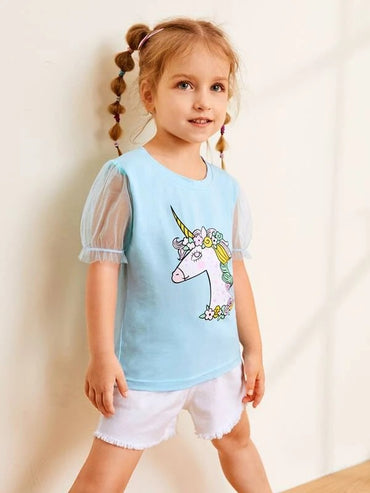 Toddler Girls Cartoon Graphic Mesh Sleeve Tee