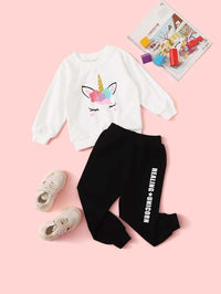 Toddler Girls Cartoon Graphic Sweatshirt & Letter Sweatpants