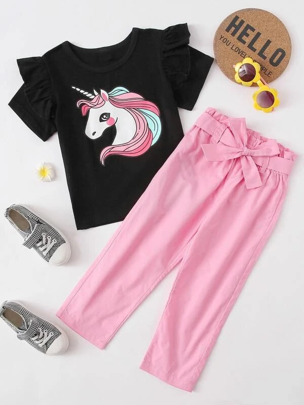 Toddler Girls Cartoon Graphic Tee With Belted Pants