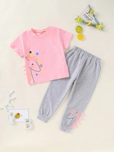 Toddler Girls Cartoon Graphic Tee With Sweatpants