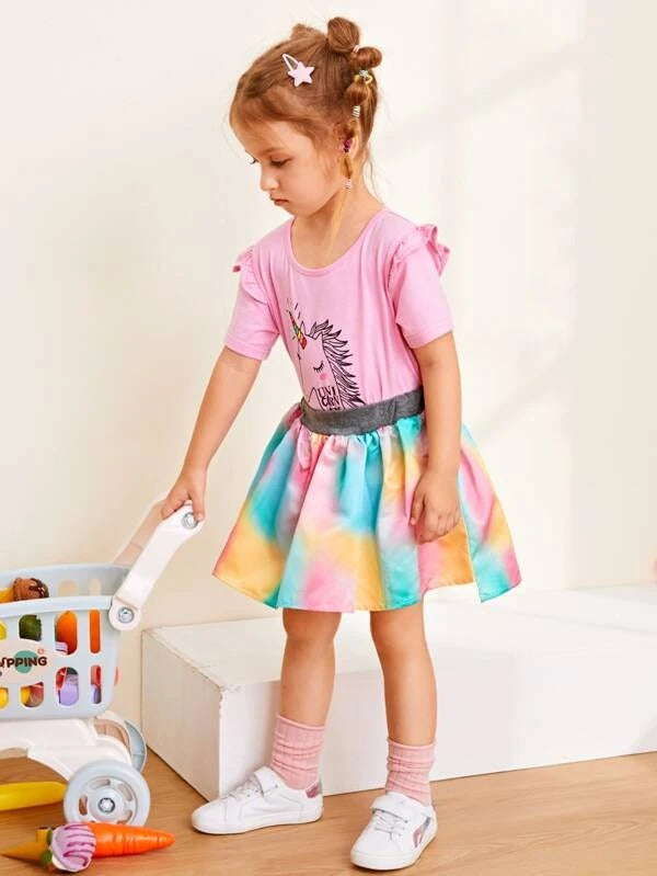 Toddler Girls Cartoon Graphic Tee With Tie Dye Skirt