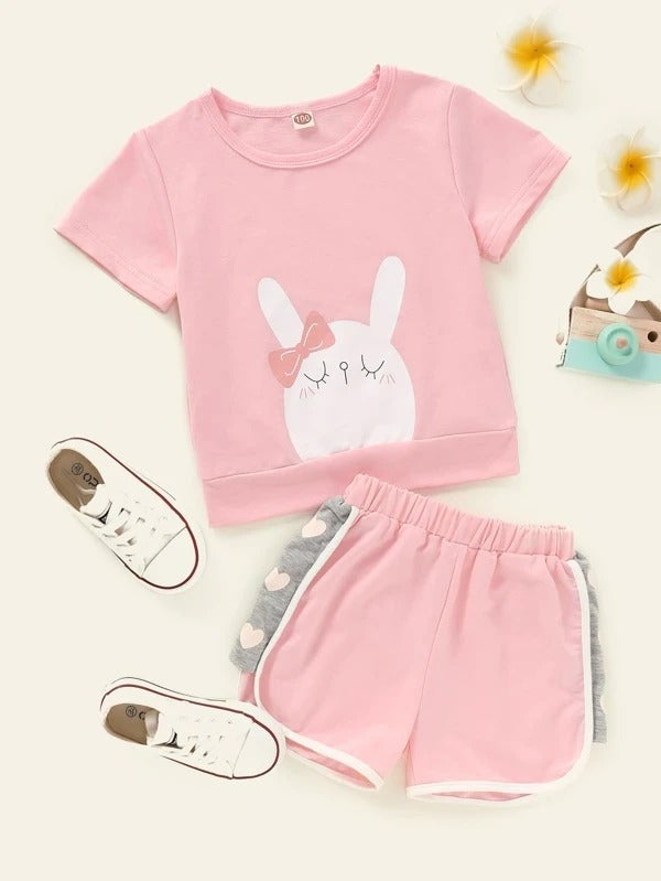 Toddler Girls Cartoon Graphic Tee With Track Shorts