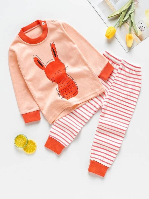 Toddler Girls Cartoon & Stripe Print PJ Set